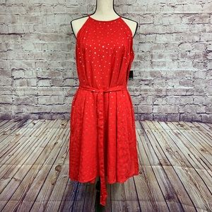 New York & Company Red Star Print Sleeveless Dress
